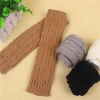 new women men twist crochet knitted fingerless gloves short arm sleeve hand warmer mittens winter warm solid color gloves women