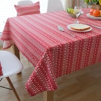 red fawn christmas tree pastoral striped cotton square table round tablecloth covered tea table table mat