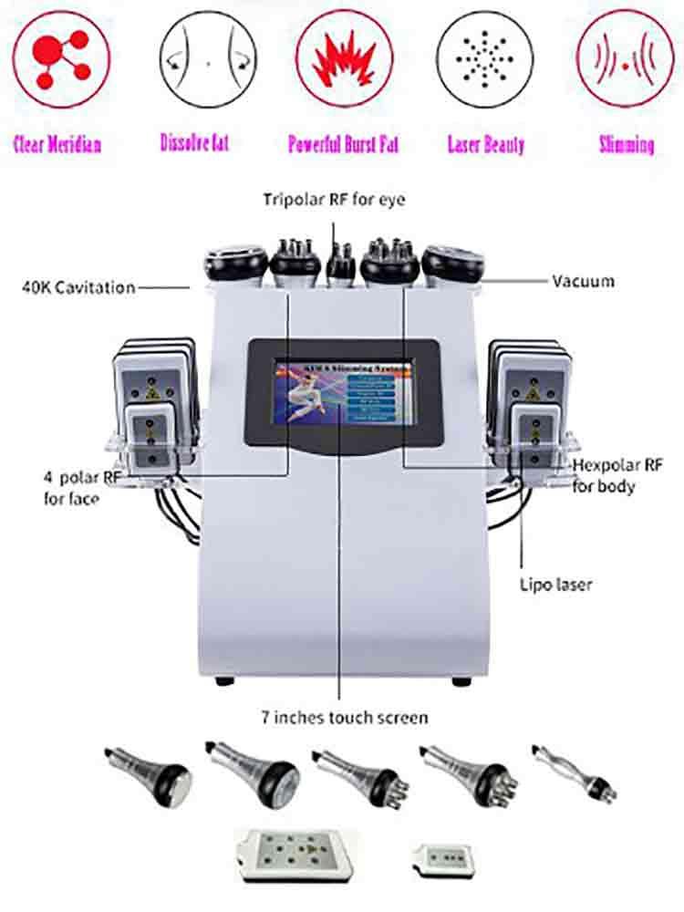 Parche láser de chorro de grasa seis en uno 40K, instrumento de modelado RF de presión negativa, instrumento de radiofrecuencia multipolo de belleza