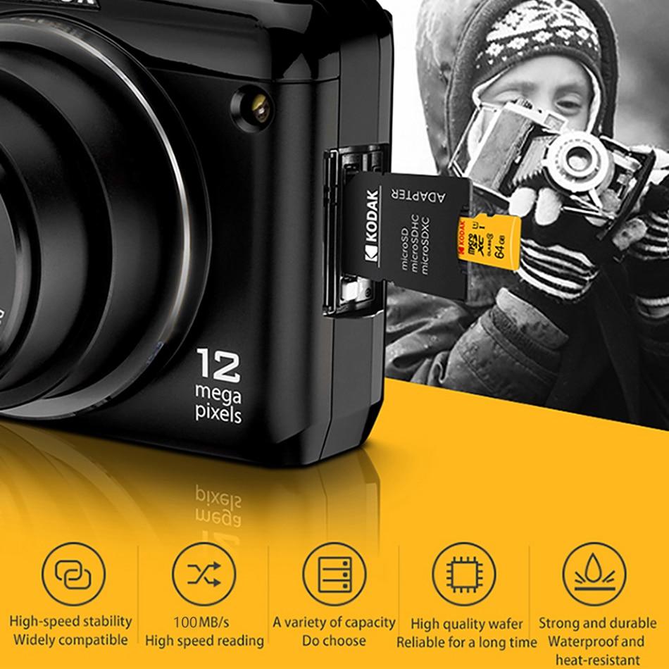 Kodak Memory Card High Speed 100MB/s 32GB A1 Class 10 UHS-I 64GB 128GB Micro SD Card V30 U3 TF Card for Camera Smartphone Game enlarge