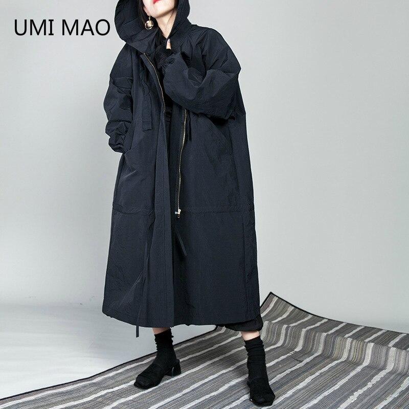 UMI MAO-سترة واقية من القطن للنساء ، سترة واقية من الرياح الداكنة ، مقاس كبير ، معطف كبير بسيط
