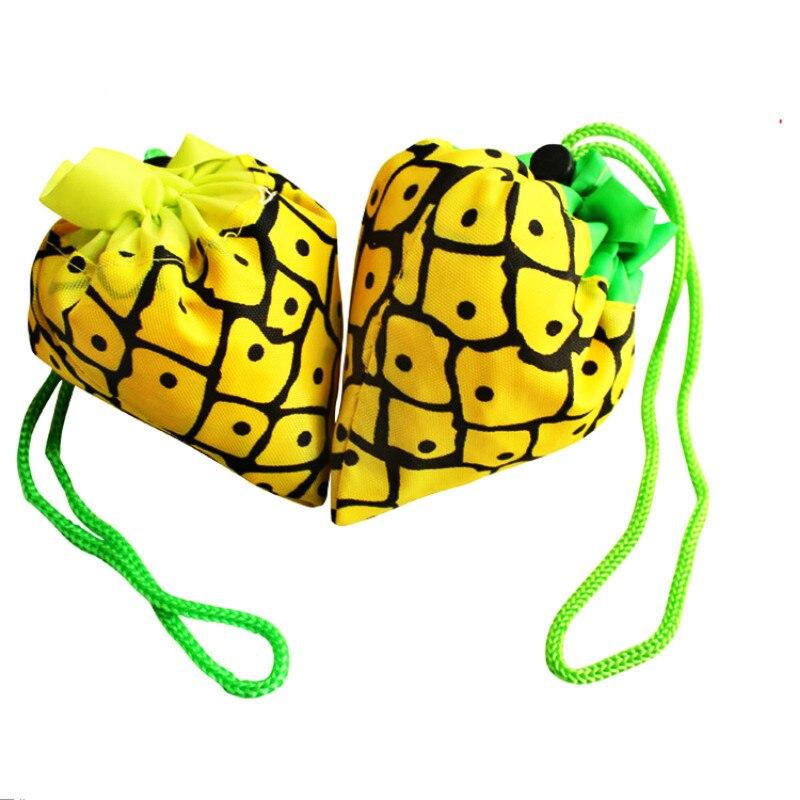 5 unids/set Hot Eco bolsa de almacenamiento fresa uvas piña plegable bolsos para compras reutilizables plegable comestibles Nylon bolsa grande Ran