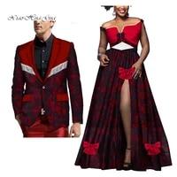 2 pieces set new arrival african clothes plus size fashion style couples suits women long dress and men print blazer wyq284