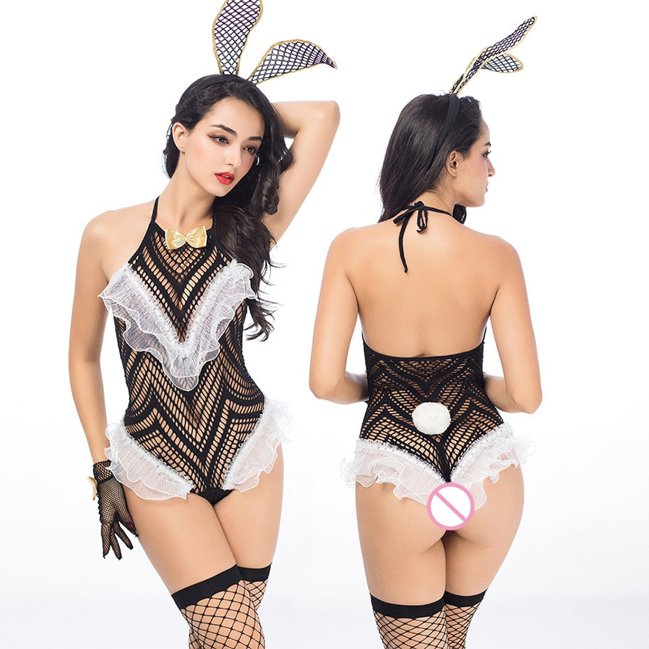 He17d56989adf4b8692898924845a709fY JSY Porno de las mujeres conjunto de Bikini de lencería Sexy chica conejito uniforme Cosplay erótica caliente ropa de Catsuit por sexo Porno trajes
