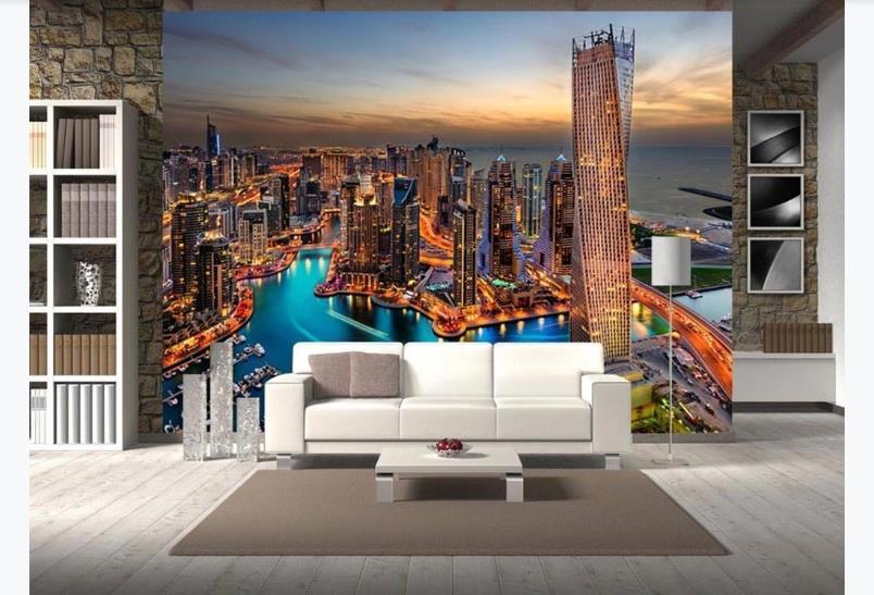 Papel tapiz de foto 3D con vista de la ciudad, hermoso Mural de noche de ciudad realista, papel tapiz de paisaje para pared de vinilo moderno, Mural de papel