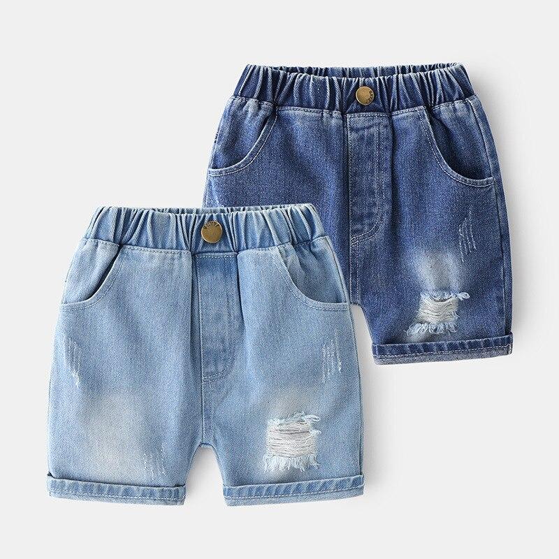 Summer New Boy Denim Shorts 2021Fashion Solid color Cotton Thin Baby Boy Casual Broken Hole Short Jeans Kids Korean Short Pants