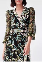 fashion printed women wrap dress with good stretch 2021 pre fall new long sleeve women midi dress
