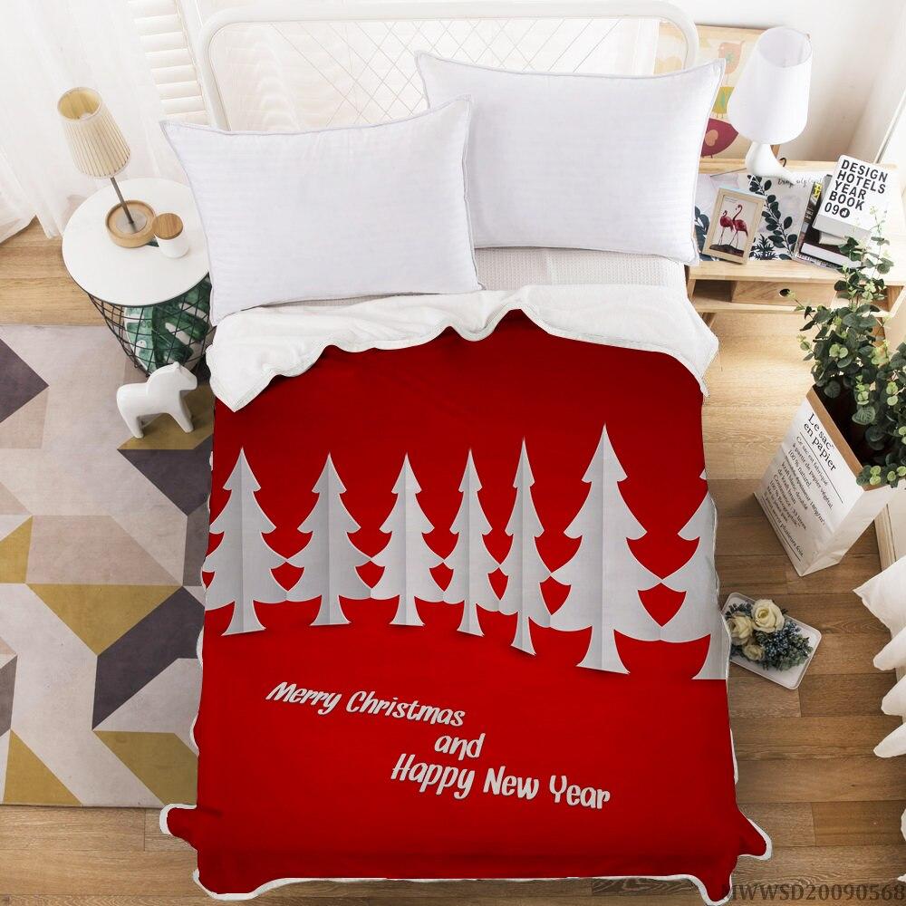 بطانية ثلاثية الأبعاد مطبوعة بشجرة عيد الميلاد ، منسوجات منزلية ، ناعمة ، ديكور غرفة نوم للأطفال والكبار