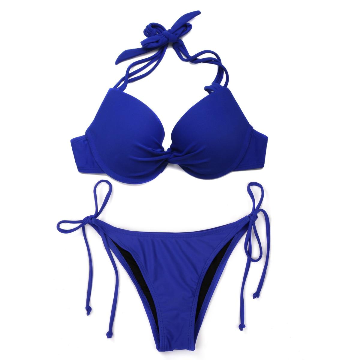 Sujetador azul Sexy traje de baño zafiro azul Bikini Bandeau Sexy plisado Mujer traje de baño femenino brasileño Push Up