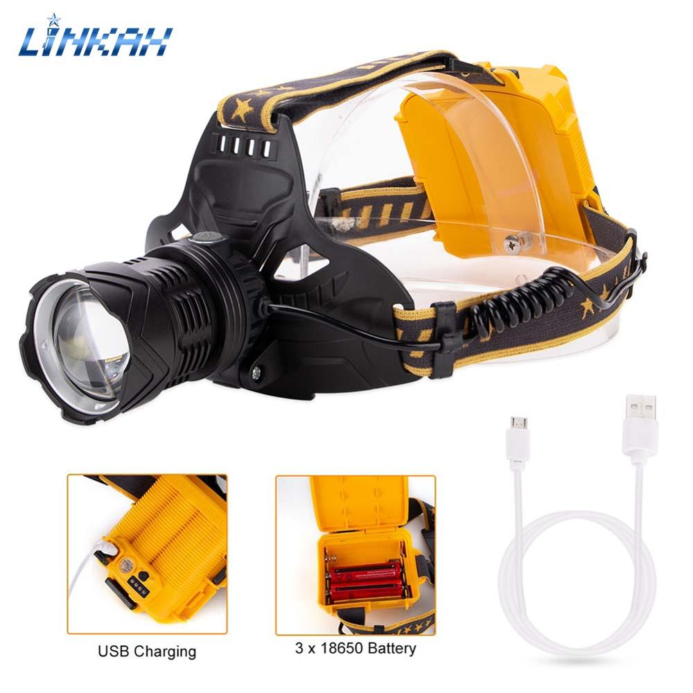 P50 XPE LED Headlight USB Rechargeable Head Lamp 7 Modes Emergency Lantern 90° Rotates Zoomable Torch For Camping Fishing