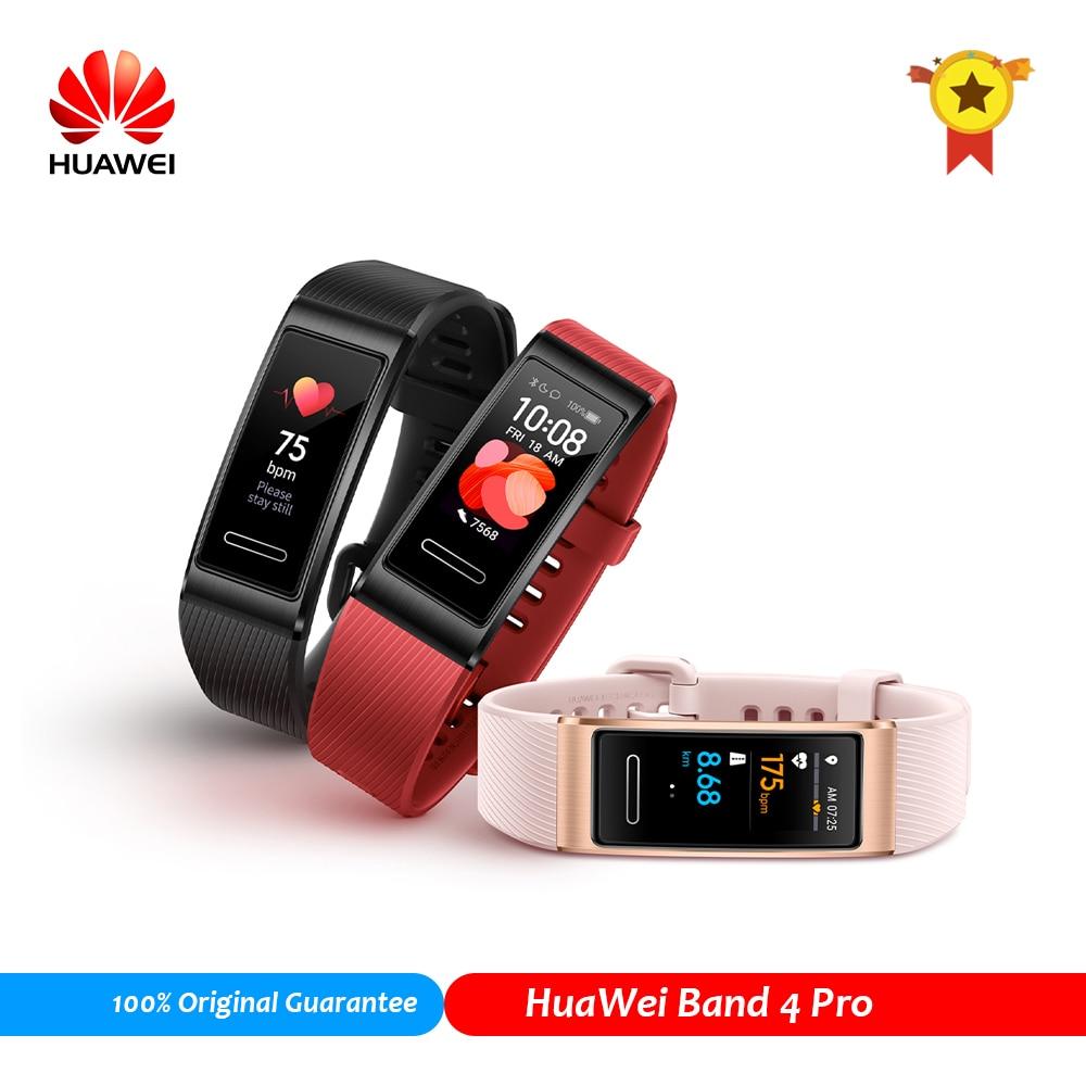 Original huawei banda 4 pro   built-in gps nfc pulseira inteligente sensor de freqüência cardíaca sono atividade rastreador amoled banda inteligente