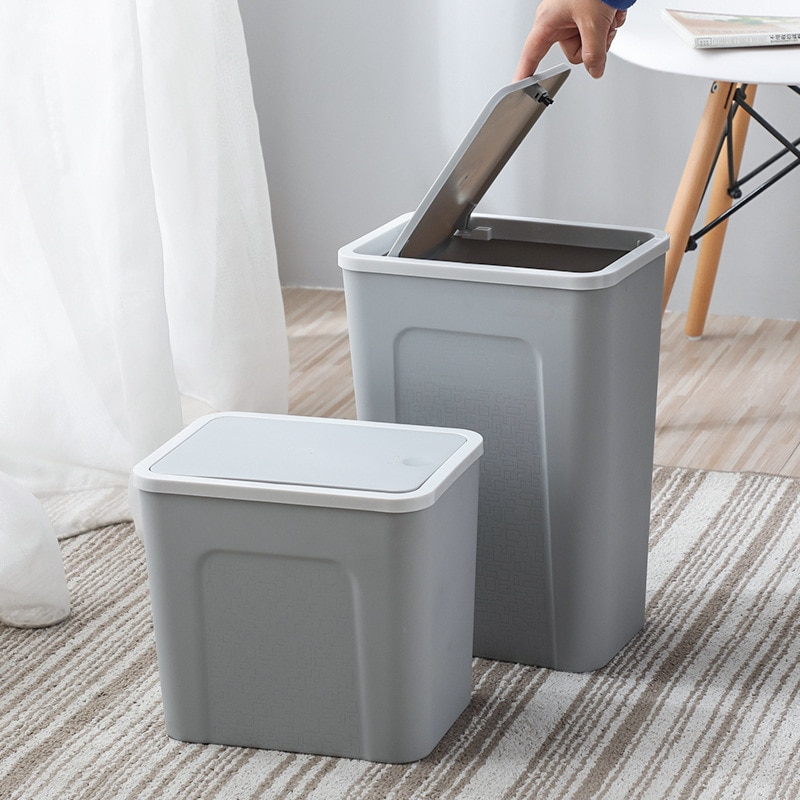 Nordic Pressed Trash Can Creative Large Livingroom Bathroom Garbage Narrow Waste Bins Multifunction Household Covered Buckets