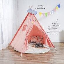 Iskandinav tarzı ahşap desteği tuval çadır çocuk bebek oyun evi çadır ışığı çatı Tipi prenses odası kızılderili çadırı çocuklar hediye