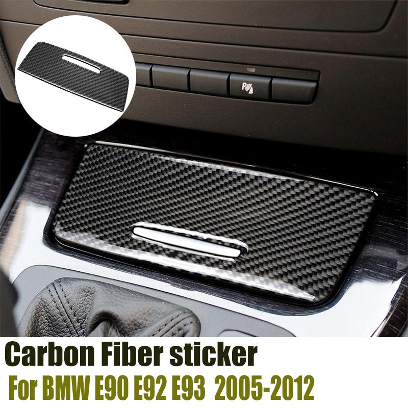 For BMW E90 E92 E93 2005-2012 3 Series Carbon Fiber sticker Interior Car Storage Box Panel Trim Cover decals Automotive Goods