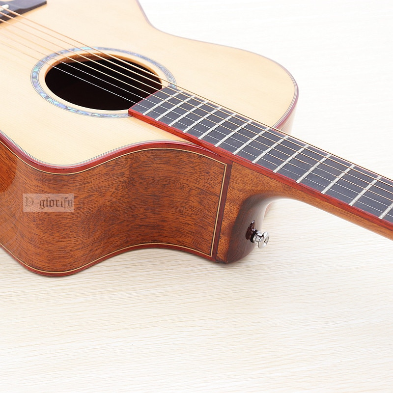 Professional Full solid wood acoustic guitar 40 inch 6 strings guitar wood guitar folk guitar natural color high gloss finish enlarge