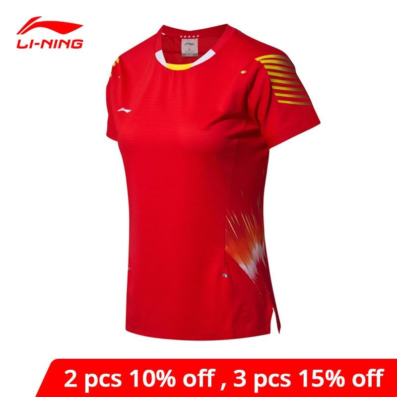 Damskie koszulki do badmintona li-ning w suchym drużynie narodowej Sponsor Li Ning LiNing AT bacteries Sports Tees AAYN006 WTS1454