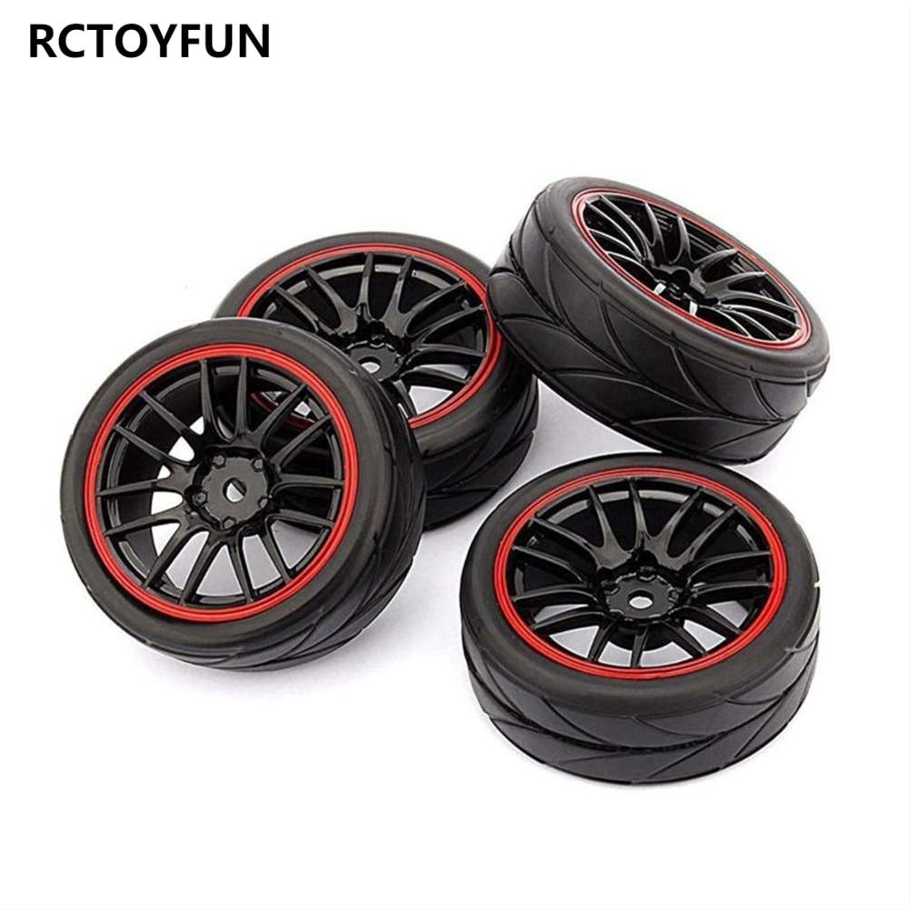 RCTOYFUN 4 шт. Пластик колесные диски и мягкие резиновые аксессуары для шин для 1/10 HSP 94123 94122 94102 94103 HPI Tamiya по супер скидке Сакура с дистанционным уп...