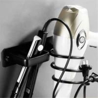 Porte-seche-cheveux en aluminium  support mural pour salle de bains  noir  espace de rangement  etagere de salle de bains  accessoires