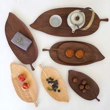 Assiettes à fruits soucoupe plateau à thé   Feuille de noyer assiette à poêle en bois, plateau à thé Dessert dîner pain, modèle assiette plateaux de rangement