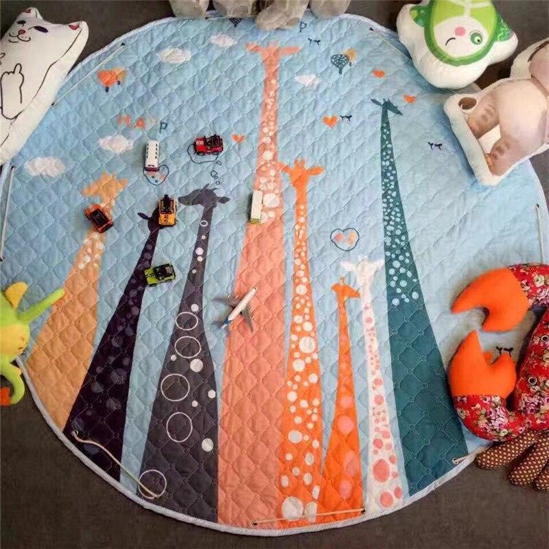 سجادة دائرية لغرفة الأطفال ، ديكور منزلي 150 × 150 سنتيمتر ، سجادة لعب على شكل ثعلب ، بطانية نزهة للأطفال
