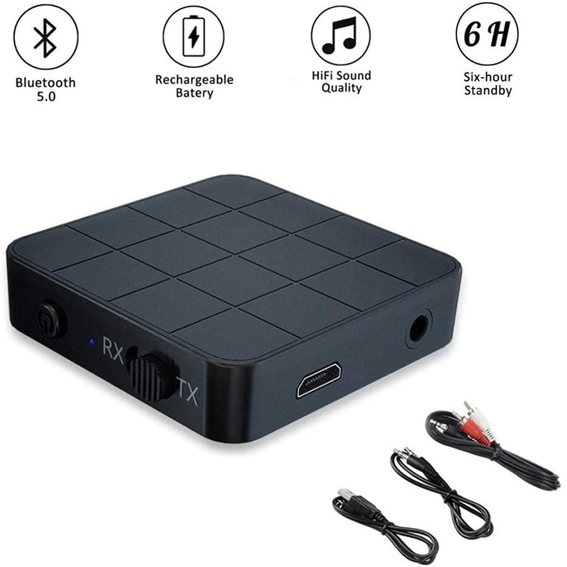 Portable Kn321 2 in 1 Bluetooth 5.0 Receiver Transmitter Usb 3.5mm to AUX Cable and 2RCA cable for T