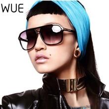 WUE 2021 Fashion Men Cool Square Style Gradient Sunglasses Driving Vintage Brand Design Cheap Sun Gl