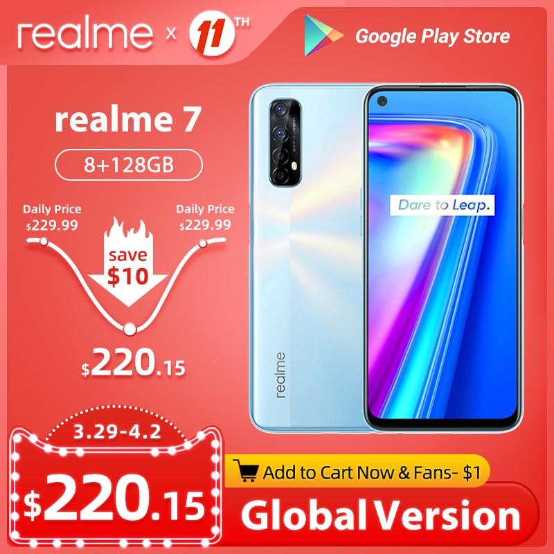 realme 7 8GB 128GB Mobile Phone Global Version 6.5'' 90Hz Display Helio G95 Octa Core 48MP Quad Camera 5000mAh 30W Dart Charge