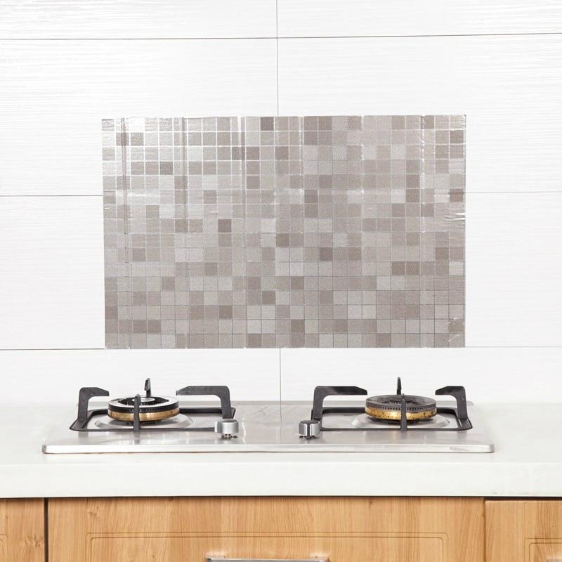 1 pçs 700*400mm adesivo de parede da cozinha mosaico auto adesivo à prova doilágua oilproof alta temperatura resistente backsplash adesivo de parede