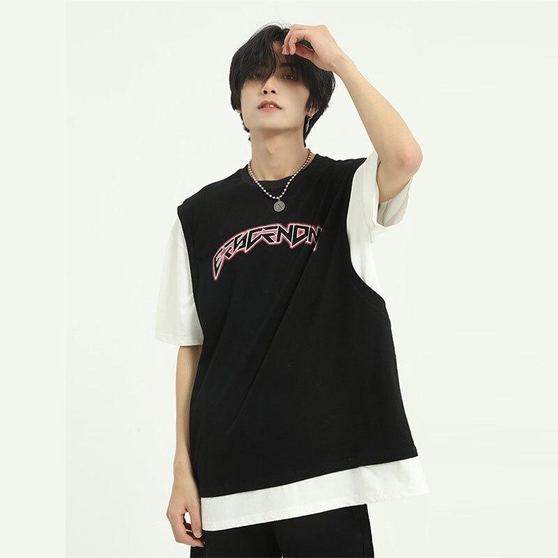 Camiseta de manga corta de empalme de verano para hombre y mujer, camisetas Vintage de moda de Hip Hop para mujer