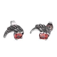 new punk stainless steel feathers earrings retro angel wings stud earrings for women zircon ear jewelry party gift bb0799