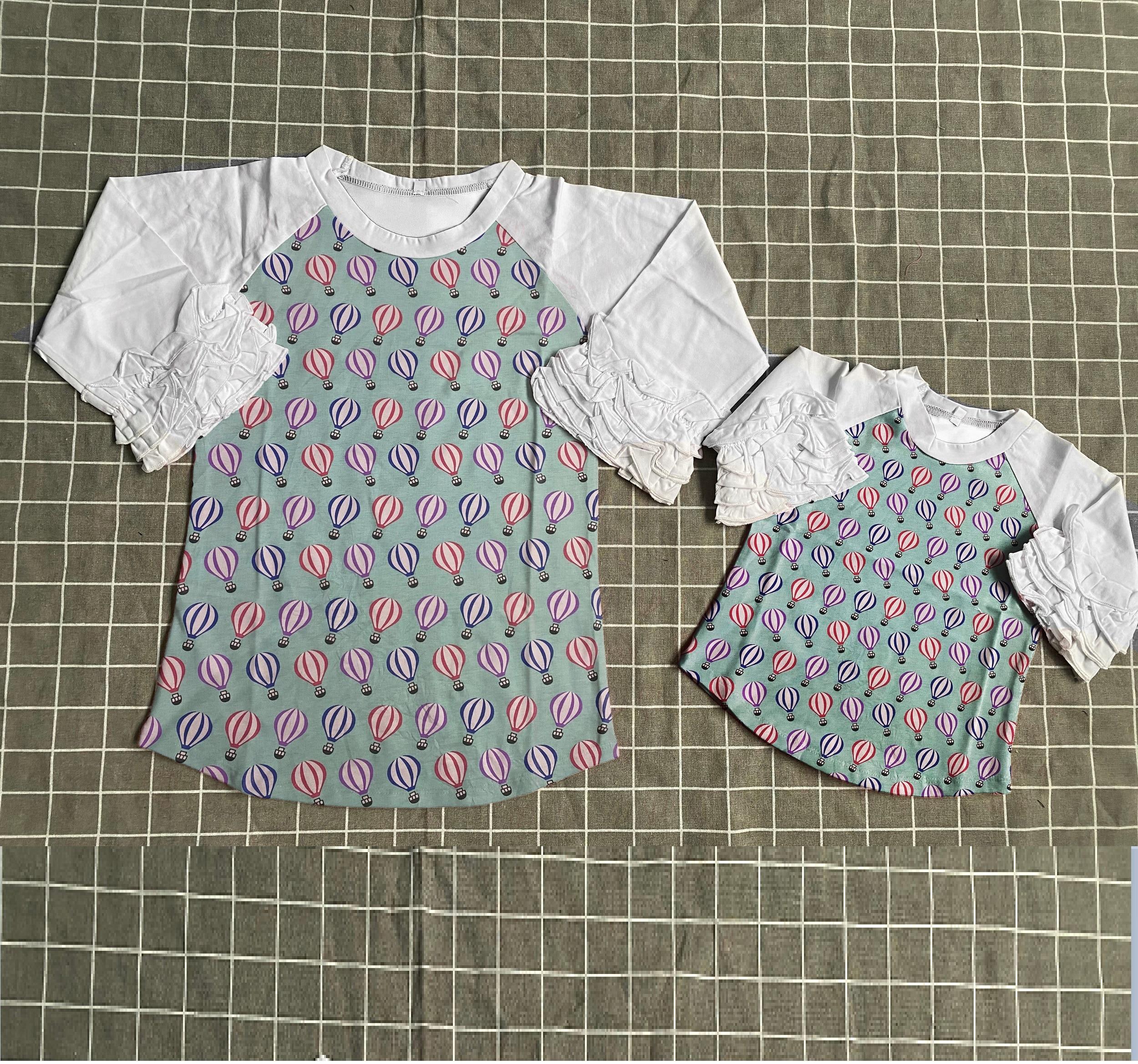 V-days الربيع/الشتاء طفل الفتيات قميص قطني بكم طويل تي شيرت كامل الأم وأنا بالون raglans الأطفال الملابس الجليد راجلان كم