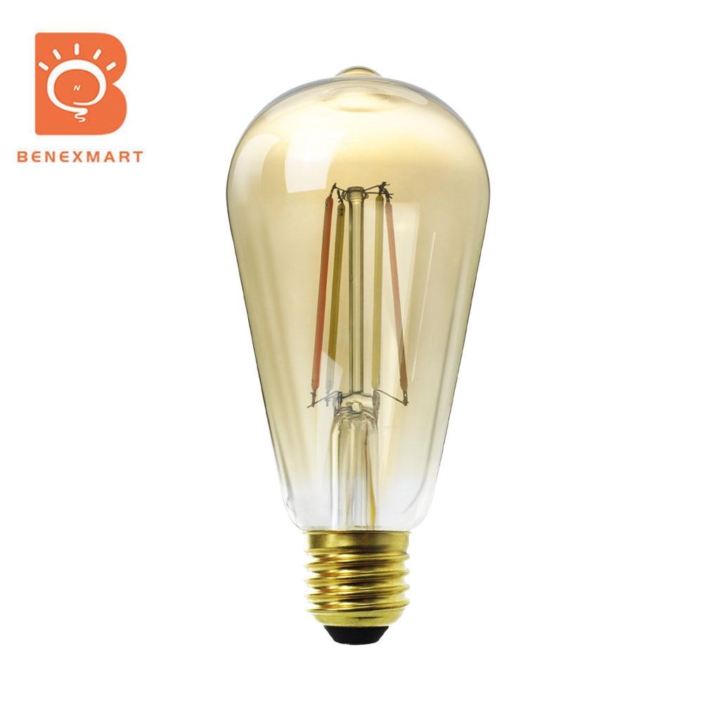 Benexmart – ampoule LED WiFi ST64, lampe intelligente en tungstène, double couleur, E27, 2000 5000K, Tuya, Alexa, Google Home, minuterie 240V