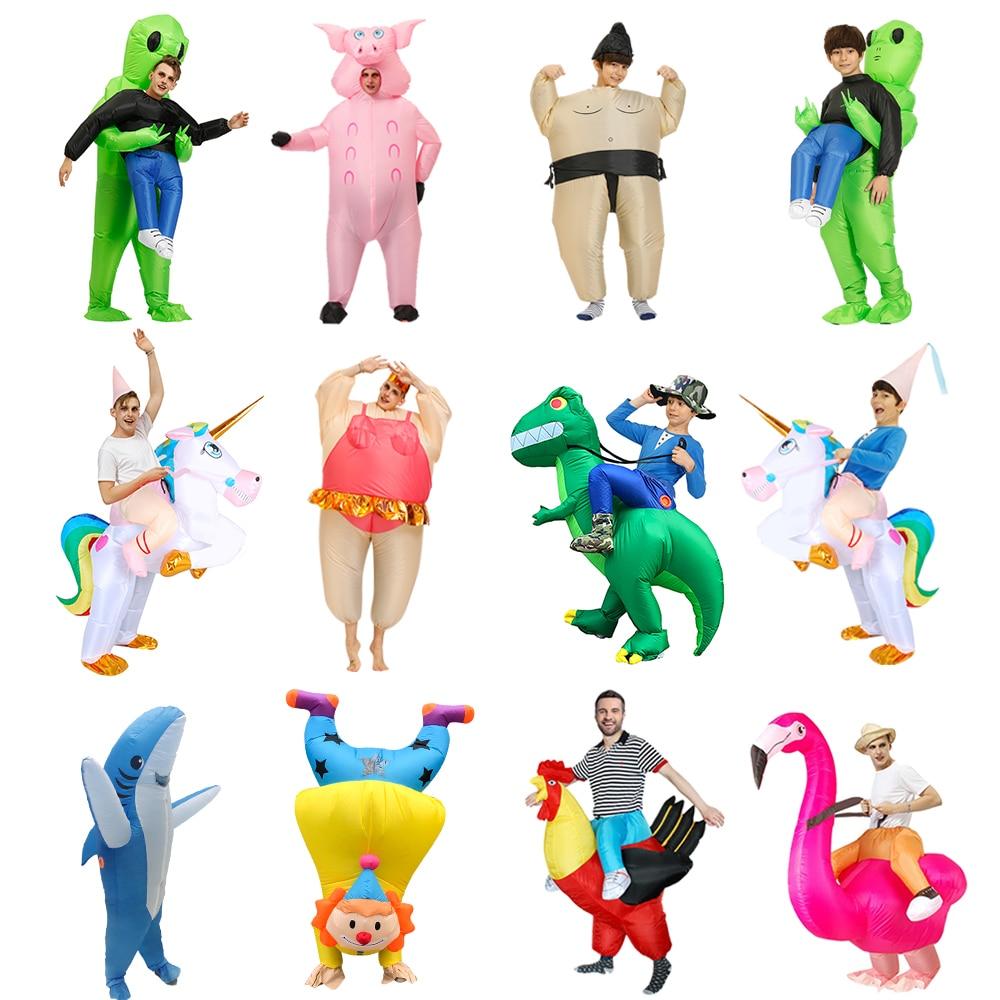 adult dinosaur inflatable christmas costume cosplay cartoon animal dinosaur jumpsuit halloween costume for men women l2651 New Inflatable Dinosaur Costume Alien Sumo Party Costumes Unicorn Suit Dress Cosplay Disfraz Halloween Costumes For Adult Kids