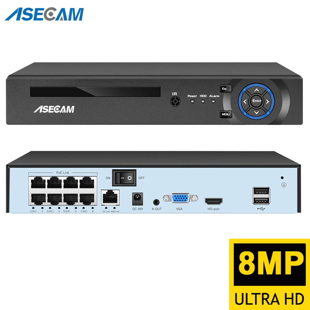 Super 8MP H.265 POE NVR Video Recorder IP Camera CCTV System ONVIF Network Face Detect P2P Video Surveillance Camera