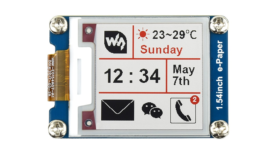 Waveshare 200x200 1.54inch E-Ink display module red/white/black three color e-paper for Raspberry Pi / STM32 SPI interface waveshare universal e paper raw panel driver hat used to drive various spi interface e paper from waveshare