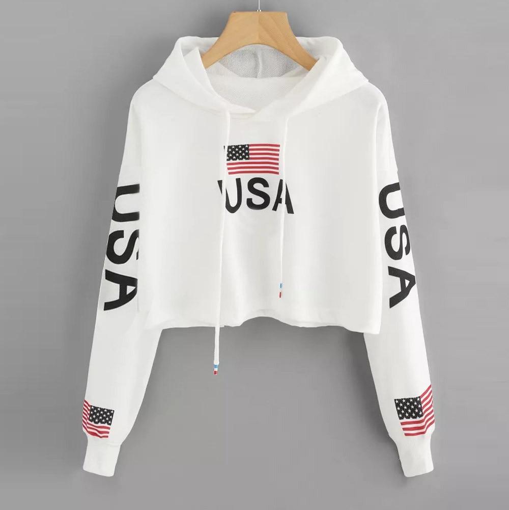 Top Sweatshirts Women Casual Drop Shoulder American Flag Print Hoodie Sweatshirt Top fashion sweatsh