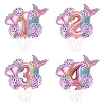 little mermaid party balloons birthday party decorations kids girl number foil balloon air ball baby shower gifts for guest