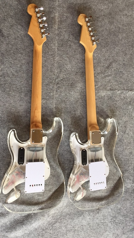 Free delivery / Maple neck acrylic blue LED light high end Guitar / customizable LED light color China Electric Guitar enlarge