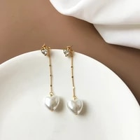 s925 needle trendy jewelry heart drop earrings sweet korean temperament high quality simulate pearl earrings for gilr gifts