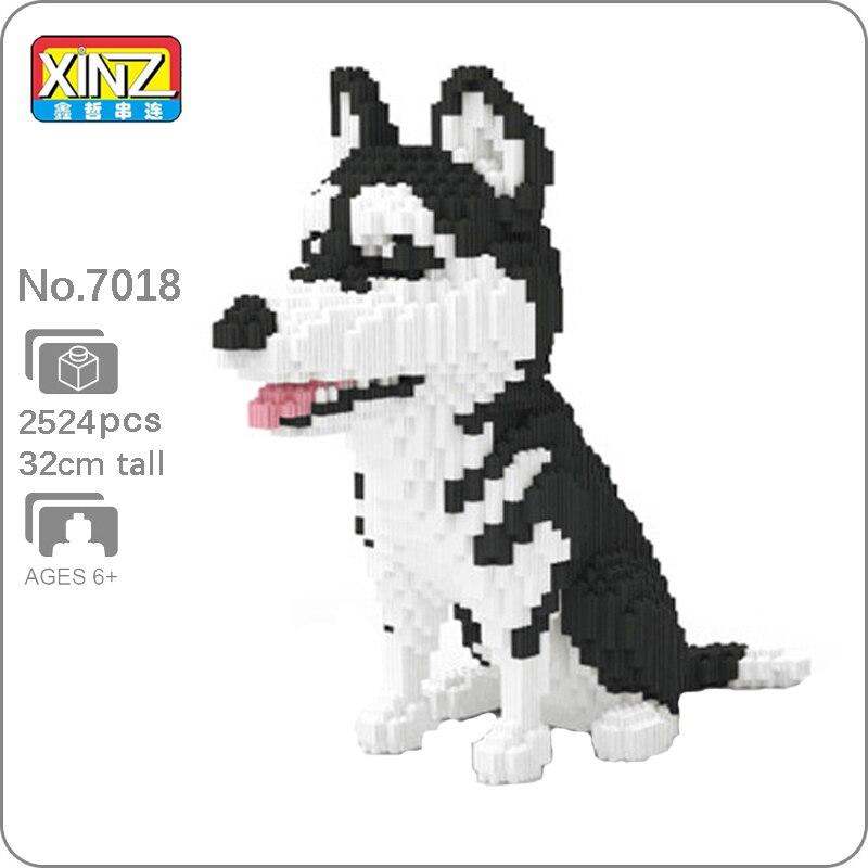 Xizai 8037 sibérien Husky chien Animal de compagnie modèle 3D bricolage Mini blocs magiques briques construction jouet pour enfants 32cm grand cadeau sans boîte