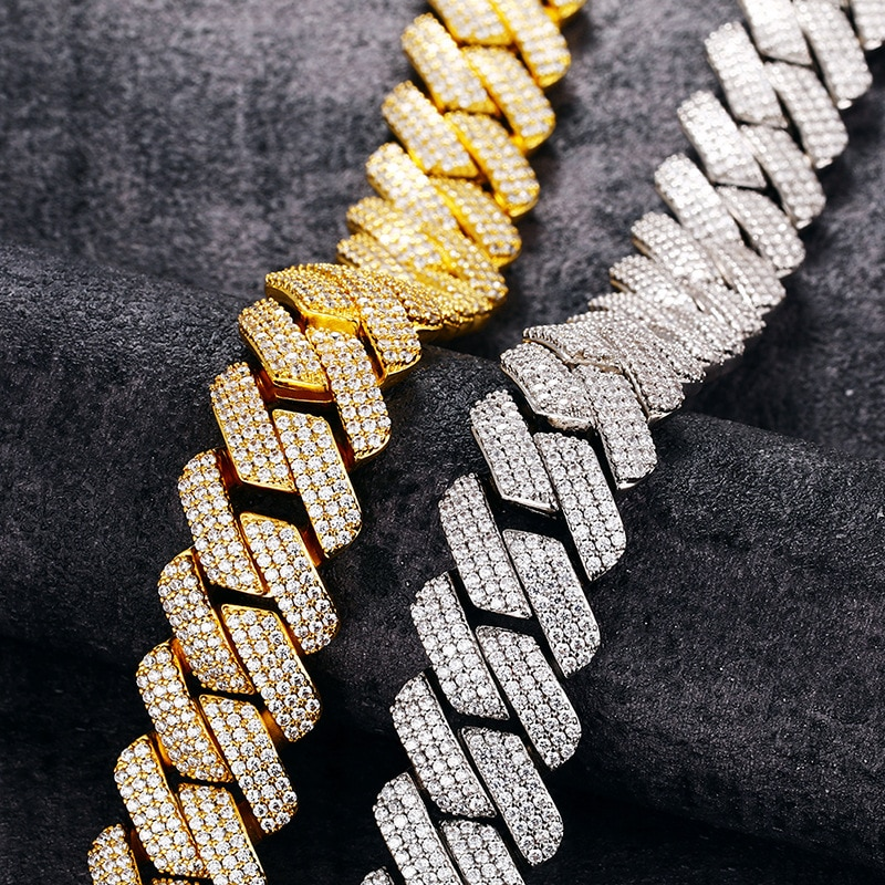 TOPGRILLZ 20 MM 3 Row Zirconia Prong Link Necklace in White Gold Iced Micro Pave CZ Cuban Chain Hip Hop Fashion Jewelry For Men