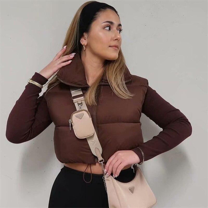 2021 brown sleeveless women short waistcoat Casual streetwear zipper lady outwear Warm high quality cotton girl vest