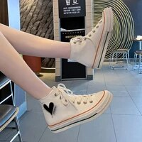 european station summer breathable thin high top canvas shoes womens 2021 new love sneakers hong kong style casual sneakers