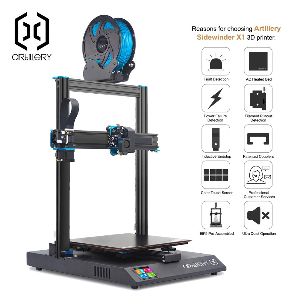 3D Printer DIY Kit Artillery Sidewinder X1 300*300*400mm Large Print Size Resume Printing Dual Z axis/TFT Touch Screen