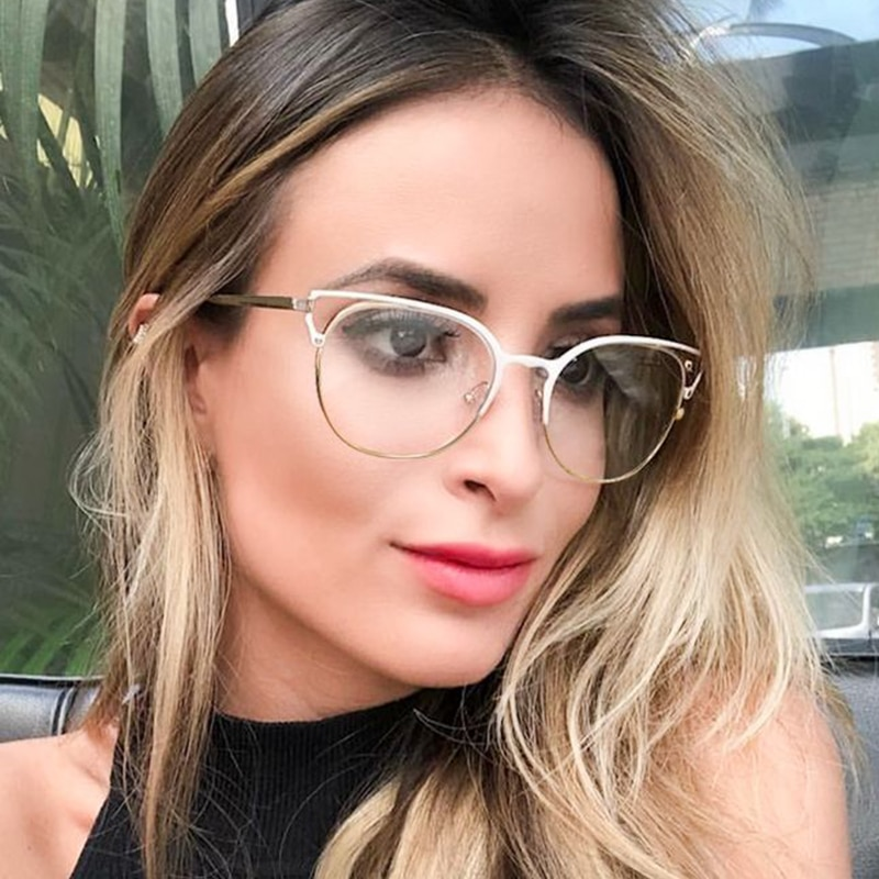 Gafas de moda 2020 para mujer, gafas transparentes con montura de Metal y ojo de gato para ordenador, lentes transparentes, gafas ópticas femeninas