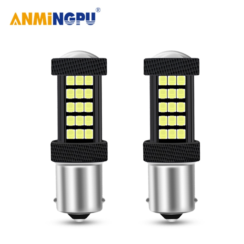 ANMINGPU 2PCS Signal Lamp P21W Led 1156 BA15S PY21W Canbus 2835SMD BAU15S Turn Signal Reversing lights Backup Light Bulbs White