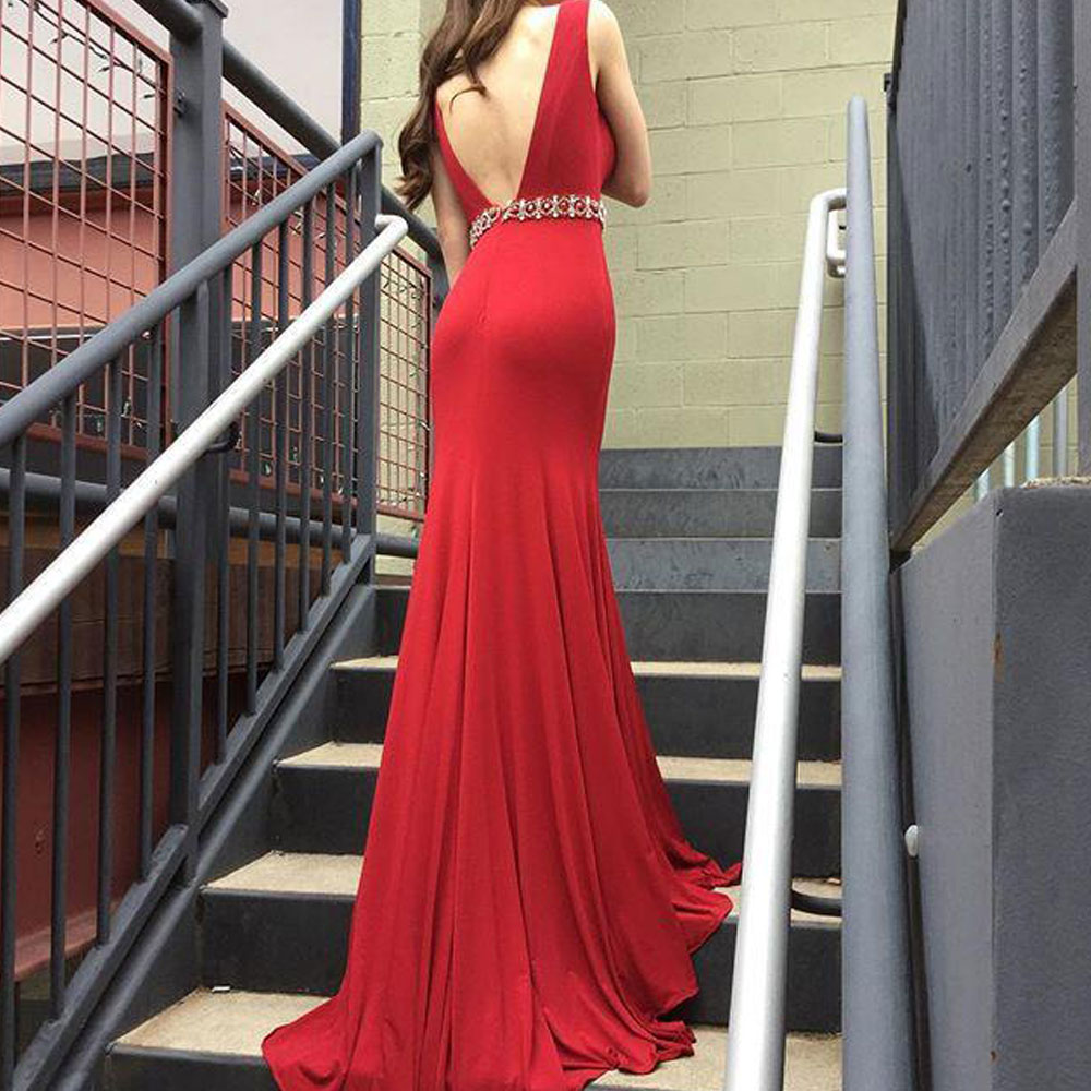 Mermaid / Trumpet Red V-Neck Floor length Beading Sleeveless Open back Draped Evening Dresses high quality Fashion