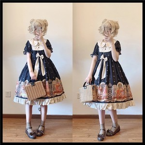 Sweet princess lolita dress vintage lace bowknot peter pan collar high waist victorian dress kawaii girl gothic lolita op loli