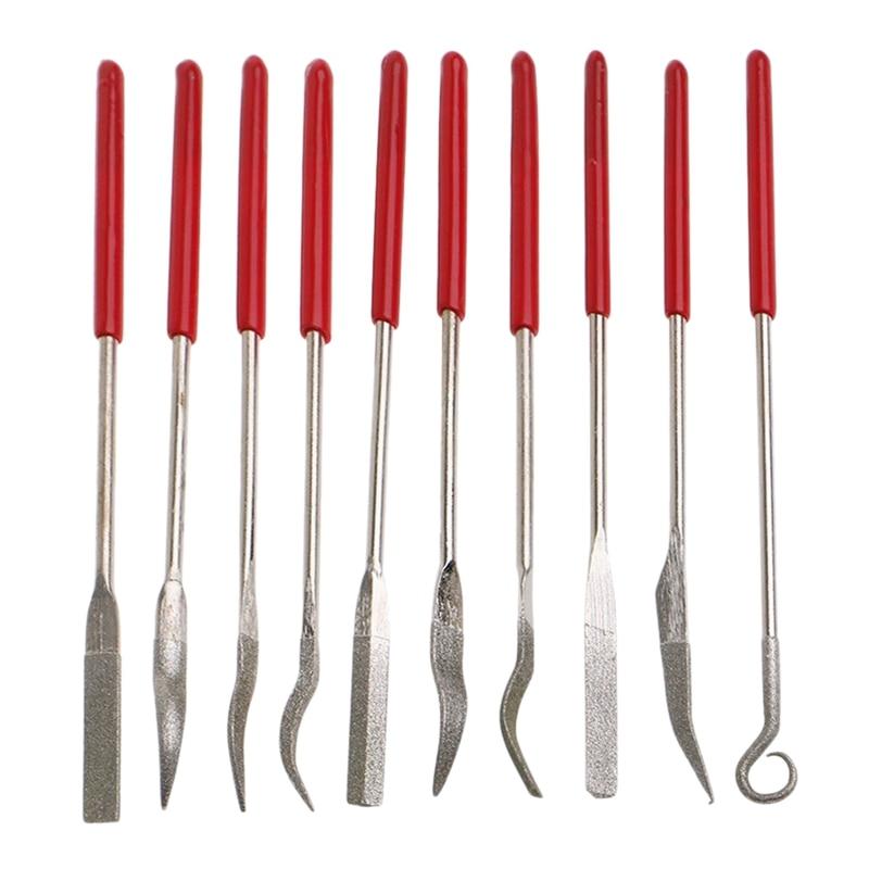 TOP 10 Pcs Diamond Coated Rifler File Set Watch Jewelry Files Tools Assorted Mini Riffler Needle Metal
