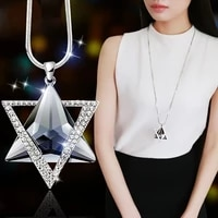trendy bohemian triangle crystal pendant necklace womens necklace austrian rhinestone inlaid pendant accessories party jewelry